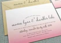 pink ombre wedding invitatioin