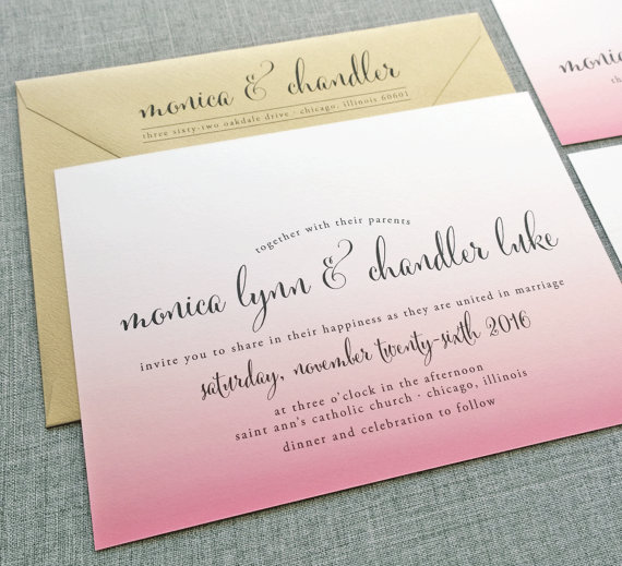 pink ombre wedding invitation - wedding invitation credit + robe giveaway
