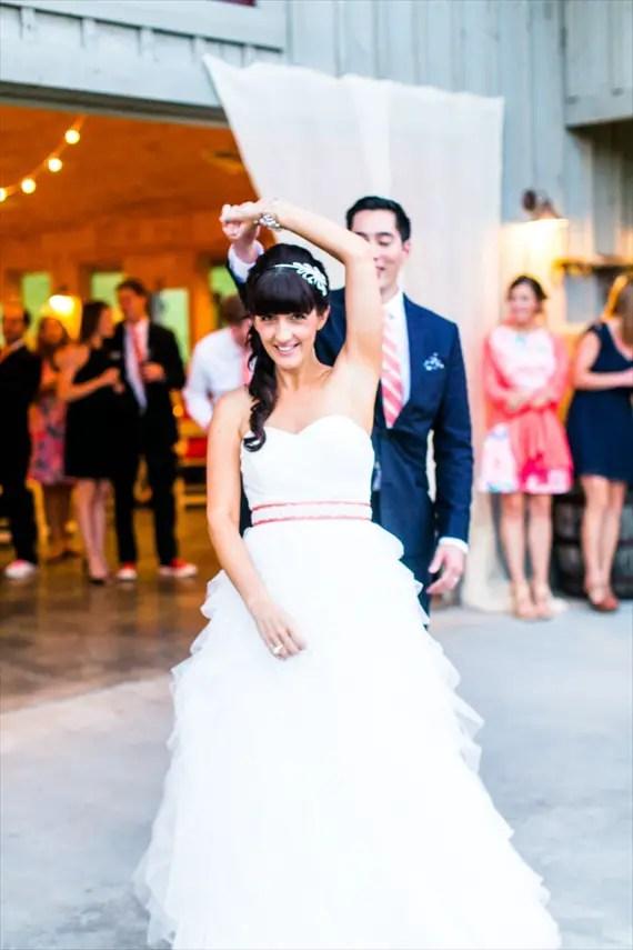 coral wedding dress sash
