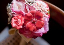 pink silk and brooch bouquet
