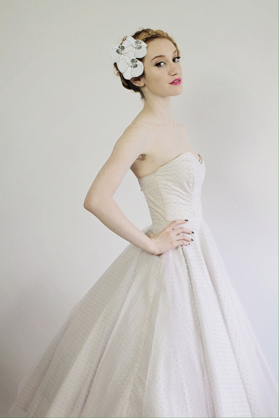 polka dot wedding dress by missbrache   via polka dot wedding ideas http://emmalinebride.com/themes/polka-dot-wedding-ideas-handmade/