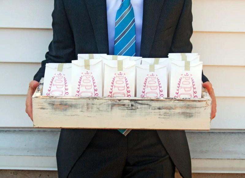 popcorn favor bags in box by Mavora Art and Design | via http://emmalinebride.com/planning/popcorn-favor-weddings/ popcorn favor weddings