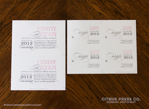 Win a FREE Printable Wedding Invitation (invite by Citrus Press via EmmalineBride.com)