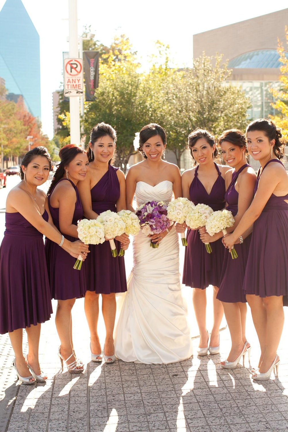 purple bridesmaid convertible dress | via http://emmalinebride.com/bridesmaids/bridesmaid-dress-worn-different-ways/