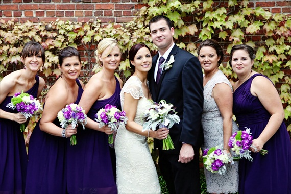 bridesmaids in purple dresses (photo: deanna casey) via Bridal Makeup Tips