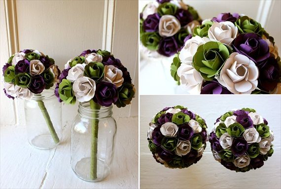 purple green ivory paper wedding flowers bouquet