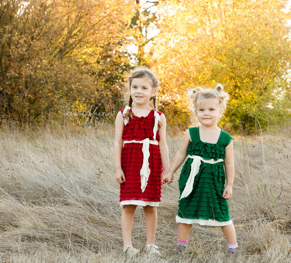 red green holiday ruffle flower girl dresses