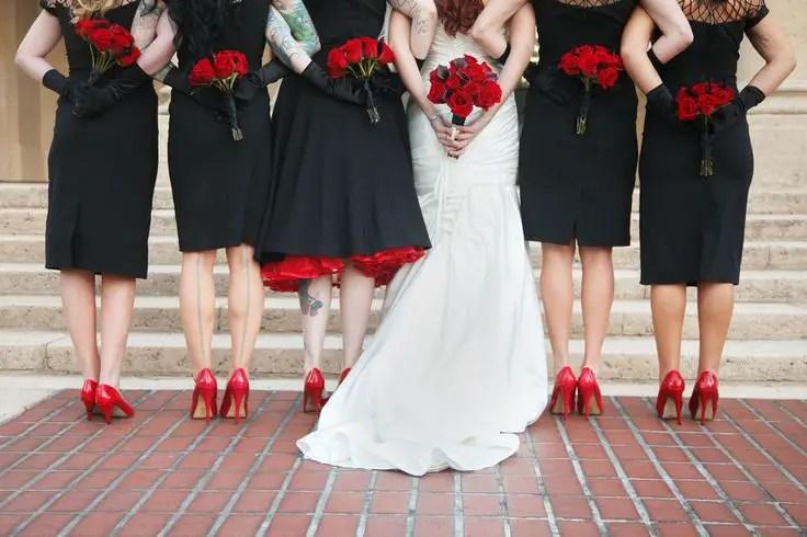 red rose wedding bridesmaids