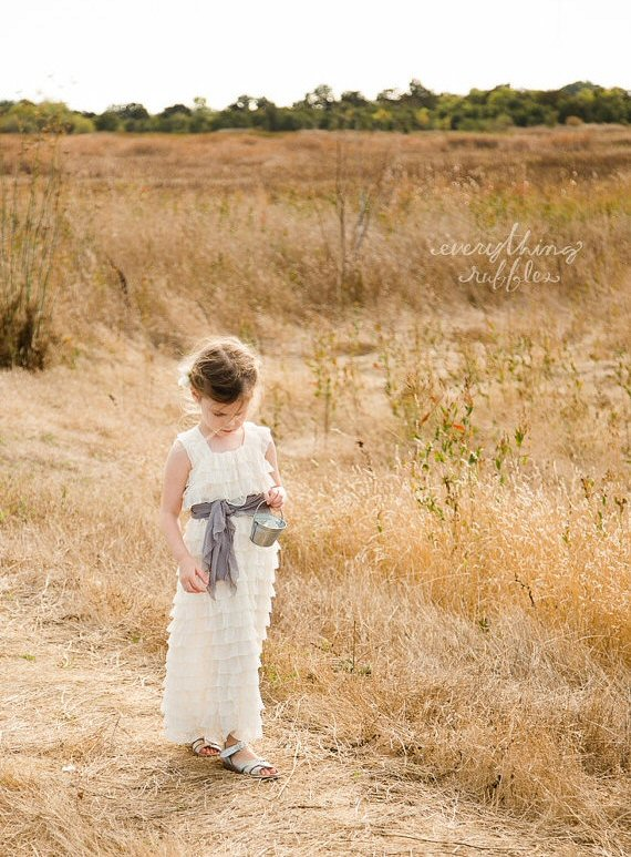 ruffle flower girl dresses ivory grey sash