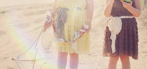 ruffly flower girl dresses yellow
