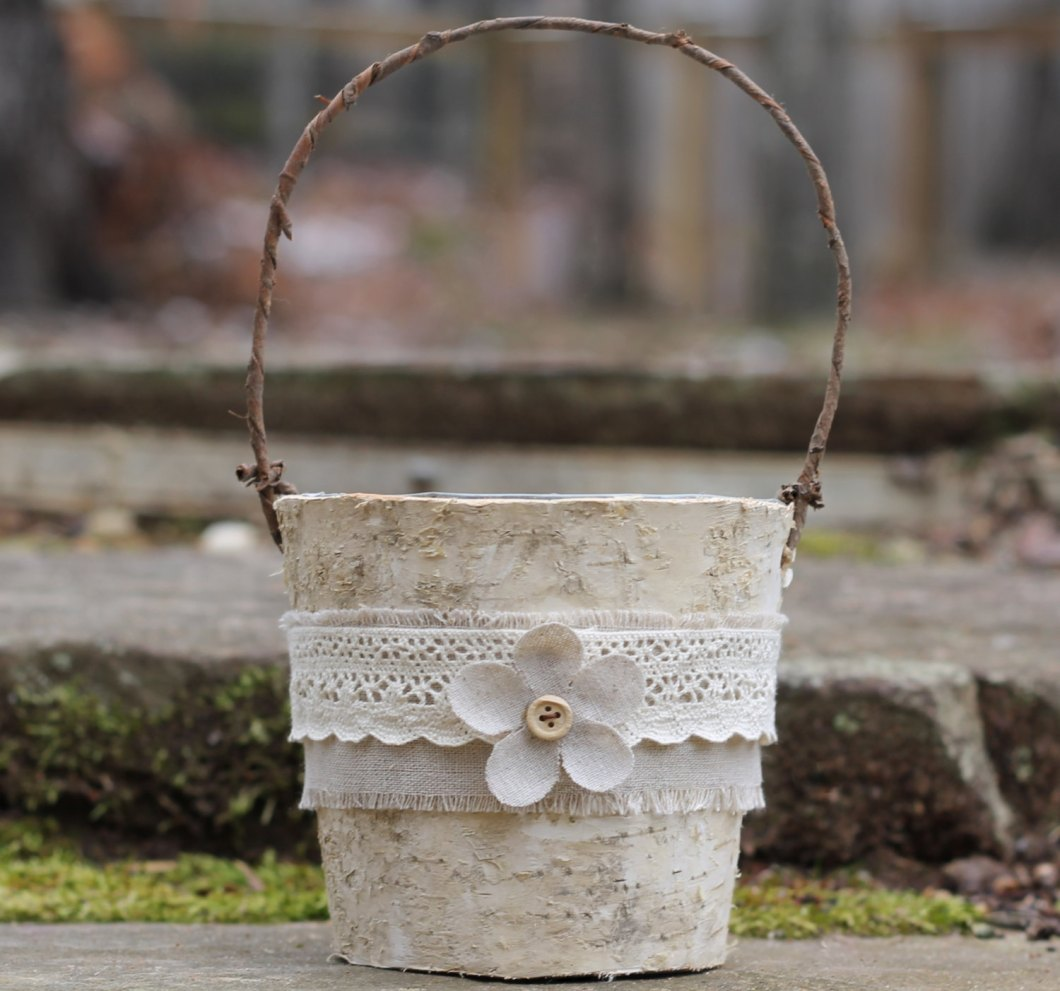 rustic birch flower girl basket | Rustic Flower Girl Baskets