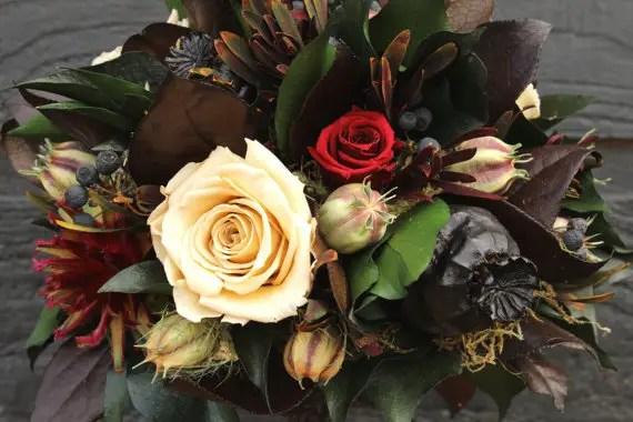 Rustic Wedding Bouquet (by Smoky Mountain Woodcrafts via EmmalineBride.com)