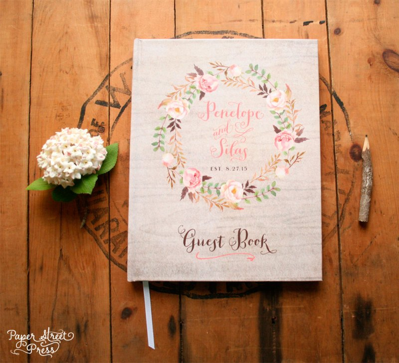 rustic guest book with floral design | rustic wedding guest book by Paper Street Press