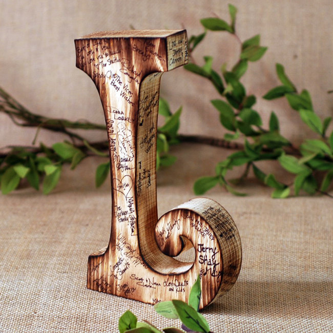 rustic monogram letter guest book