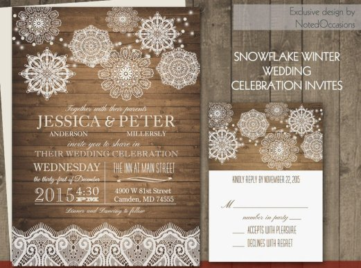 rustic snowflake wedding invitations
