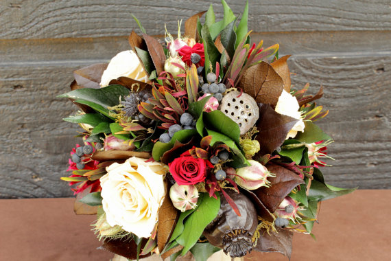 Rustic Wedding Bouquet (by Smoky Mountain Woodcrafts via EmmalineBride.com)