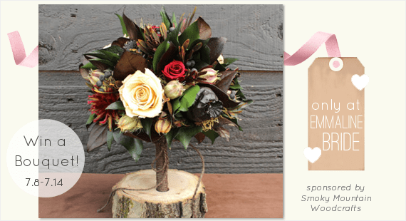 Rustic Wedding Bouquet - Giveaway! (by Smoky Mountain Woodcrafts via EmmalineBride.com)