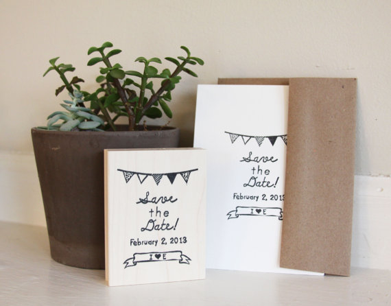 save the date stamp bunting - 5 Creative Save the Date Ideas