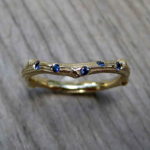 scattered sapphire twig band via 27 Amazing Anniversary Gifts by Year