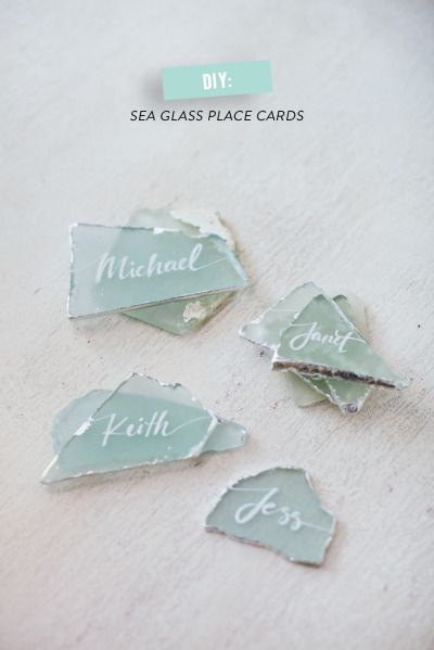 sea glass place card favors diy