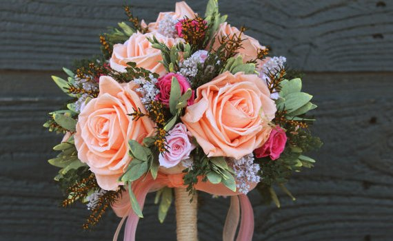 shabby chic wedding bouquet - 1