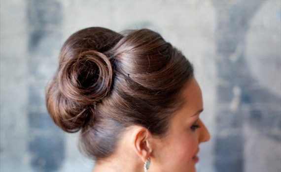 side view voluminous sleek updo