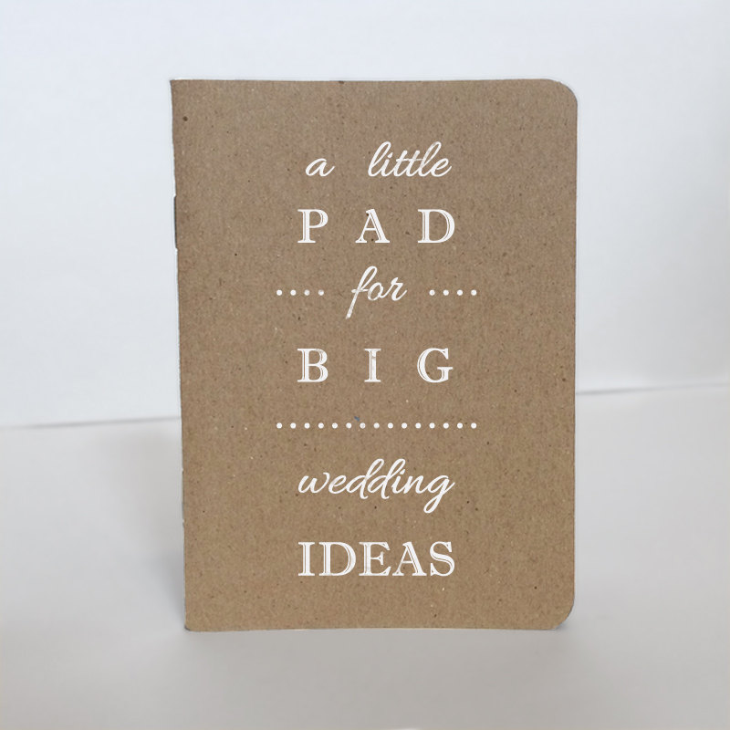 simple white wedding pad notebook