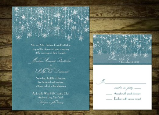 snowflake winter wedding invitations 2