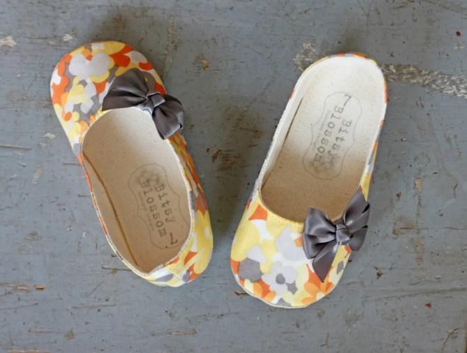 spring orange pattern | handmade flower girl shoes via http://emmalinebride.com/spring/handmade-flower-girl-shoes/