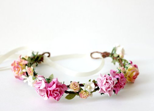 pink - spring wedding crowns | via http://emmalinebride.com/bride/spring-wedding-crowns/