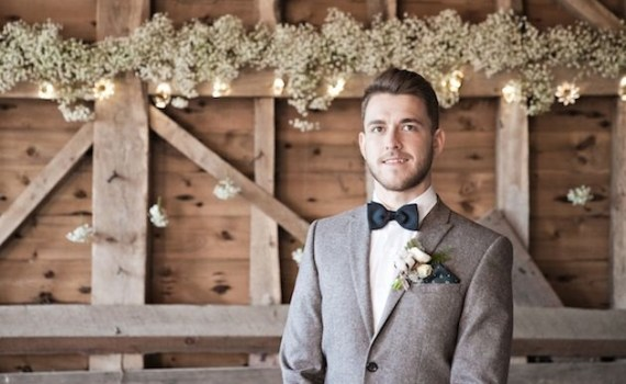 suit coat and bow tie barn wedding groom attire