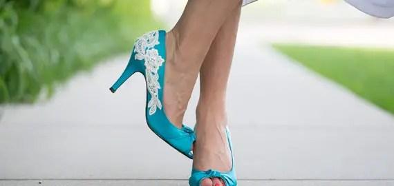 teal blue peep toe wedding heels