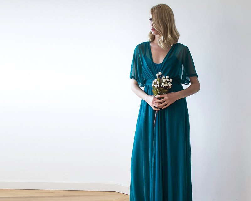 Teal Chiffon Bridesmaid Maxi Dress | via Bridesmaid Maxi Dresses http://emmalinebride.com/bridesmaids/bridesmaid-maxi-dresses/