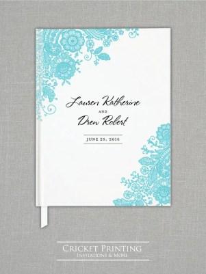 teal wedding guest book