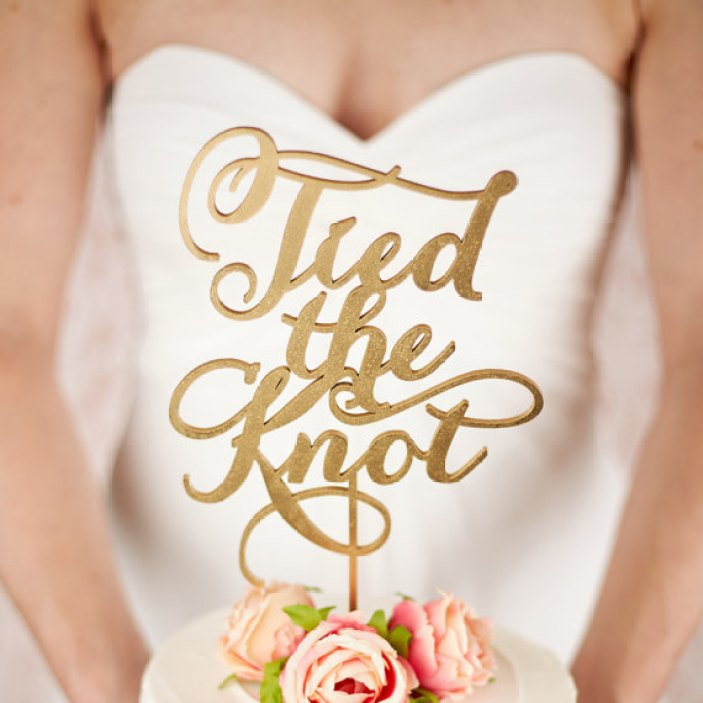 tied the knot cake topper