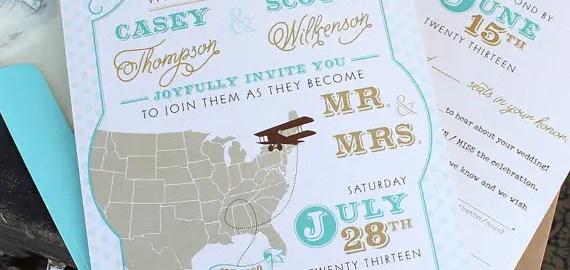 travel wedding invitation large