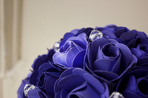 up close purple paper bouquet