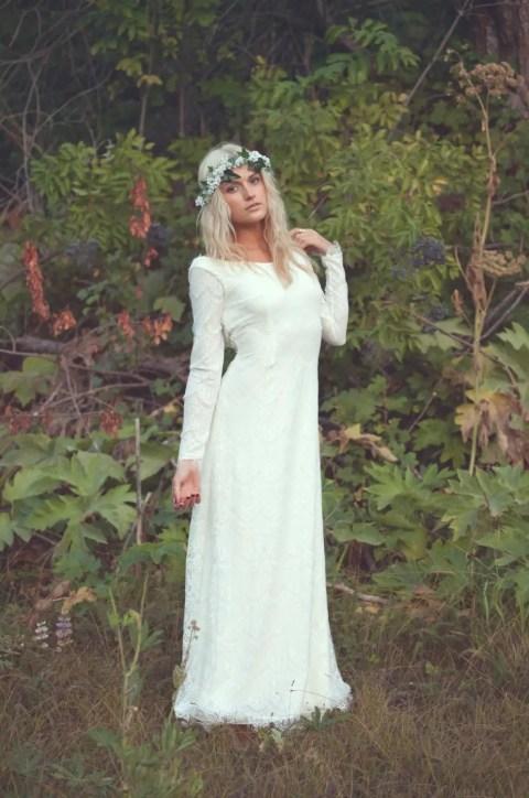vintage high neckline wedding dress