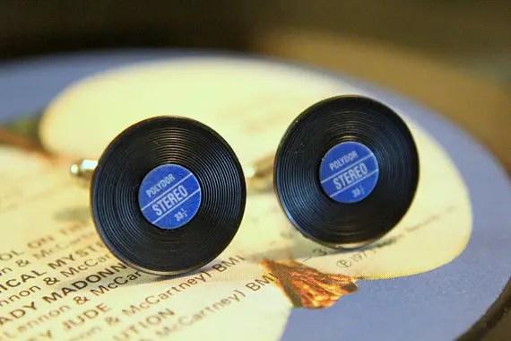 vinyl blue cufflinks