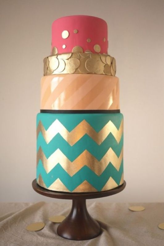 metallic chevron wedding cake