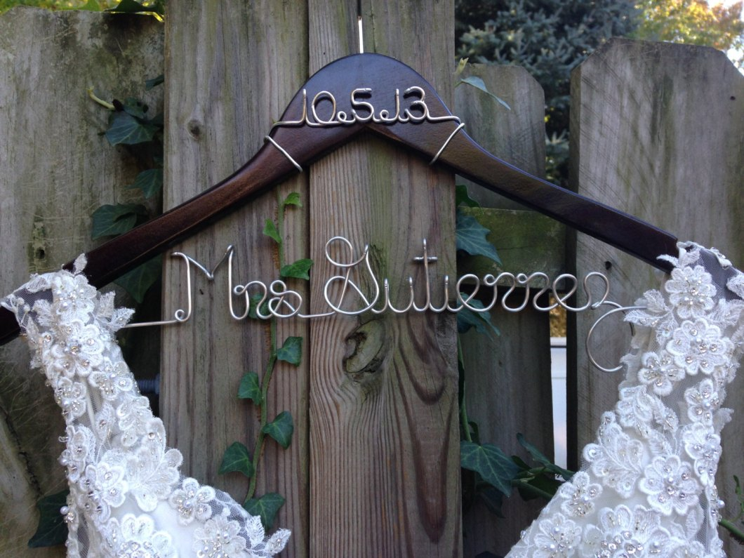 Wedding hanger with name and date deighan design for Wedding dress hangers with name