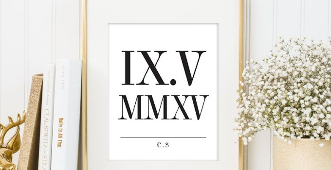 wedding date print roman numerals