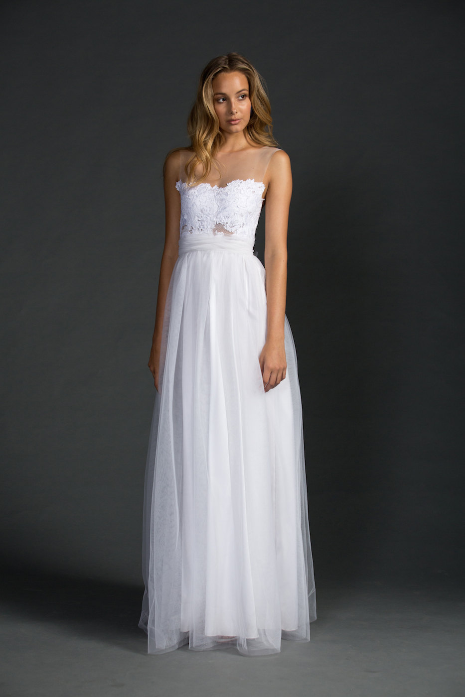 Dreamy Sheer Neckline Wedding Dress | via http://emmalinebride.com/bride/sheer-neckline-wedding-dress/ class=