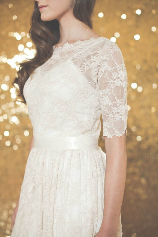 handmade wedding dress with lace sleeves