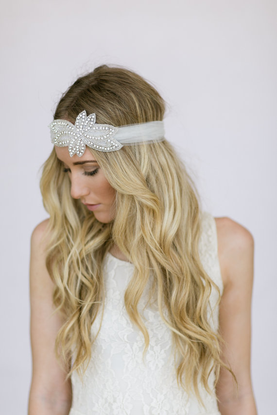 How to Rock a No Veil Wedding Look (via EmmalineBride.com) - wedding headband by Three Bird Nest
