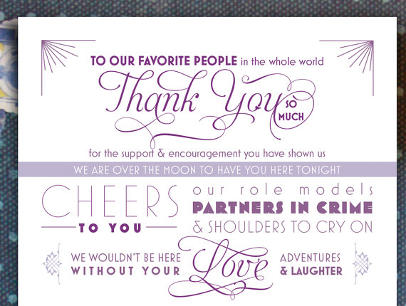 wedding menu thank you card
