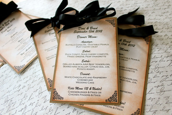 Wedding Menu Cards (by Mother & Daughter Creations via EmmalineBride.com) #handmade #wedding