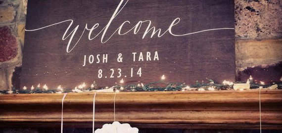 welcome sign for wedding dark stain