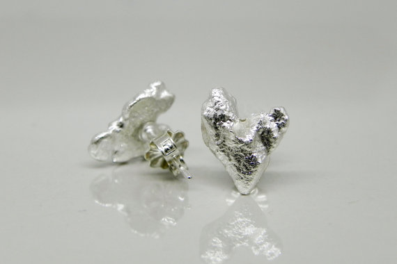 White Gold Heart Earrings