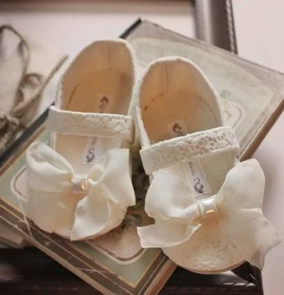 white lace flower girl shoes | handmade flower girl shoes via http://emmalinebride.com/spring/handmade-flower-girl-shoes/